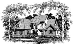 Contemporary Country European House Plan 93401 Elevation