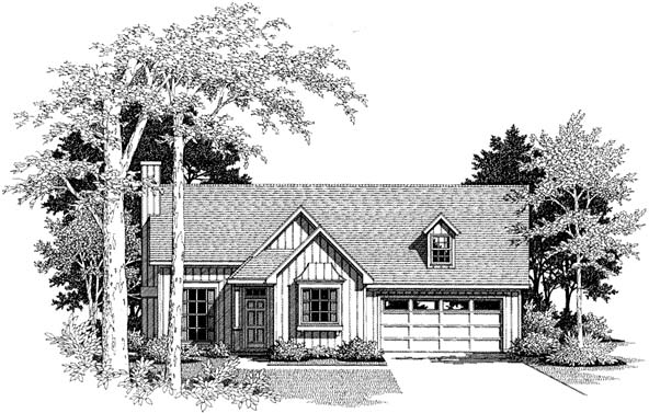 Cabin, One-Story, Ranch House Plan 93403 with 3 Beds, 2 Baths, 2 Car Garage Front Elevation