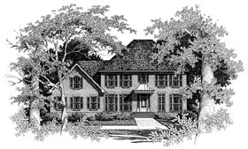 Colonial , European House Plan 93407 with 4 Beds, 3 Baths, 2 Car Garage Elevation