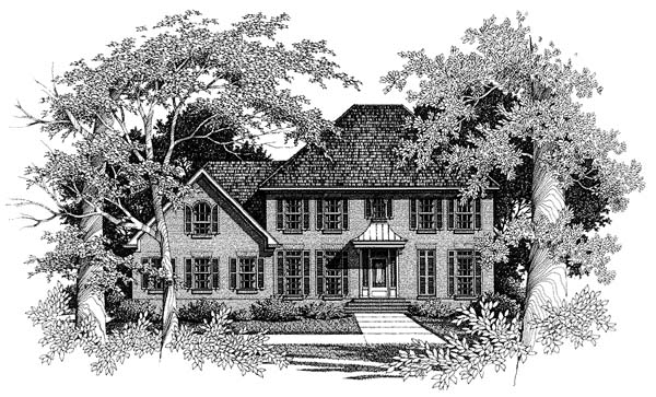 Colonial European House Plan 93407 Elevation