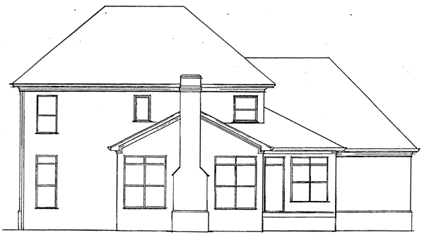Colonial European House Plan 93407 Rear Elevation