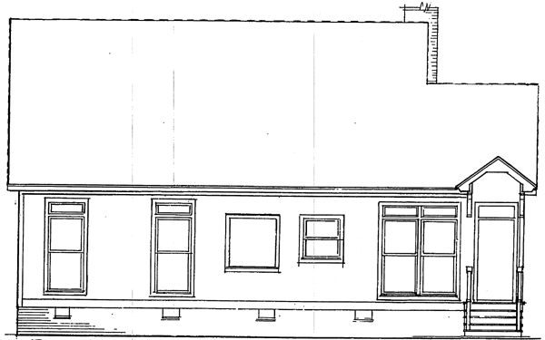 Cabin Country One-Story Rear Elevation of Plan 93414