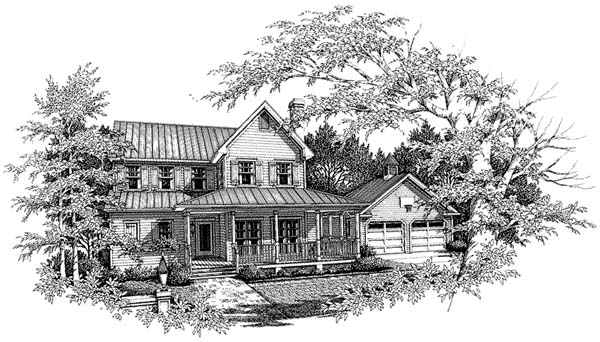Country, Farmhouse House Plan 93417 with 4 Beds, 3 Baths, 2 Car Garage Front Elevation