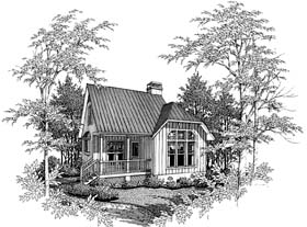 Cape Cod , Cabin House Plan 93422 with 2 Beds, 1 Baths Elevation