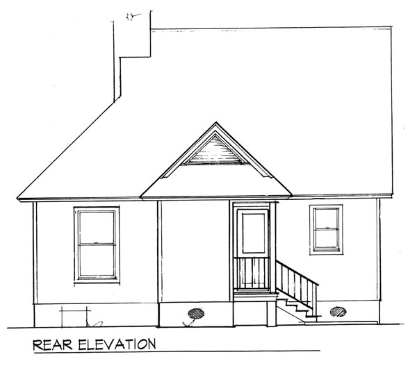 Cape Cod , Cabin House Plan 93422 with 2 Beds, 1 Baths Rear Elevation