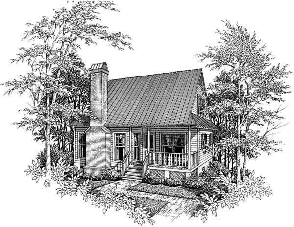Cabin Cape Cod Elevation of Plan 93424