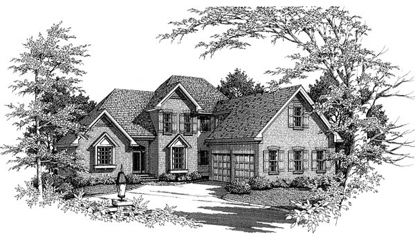 Country, European, Farmhouse House Plan 93435 with 3 Beds, 3 Baths, 2 Car Garage Elevation
