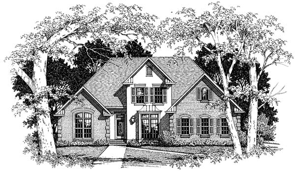 European House Plan 93436 Elevation