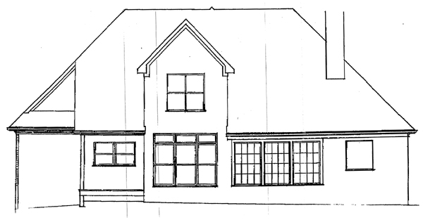 European House Plan 93436 Rear Elevation