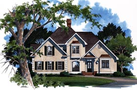 European House Plan 93437 with 3 Beds, 3 Baths, 2 Car Garage Elevation