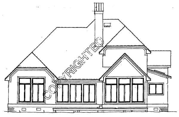 European House Plan 93437 with 3 Beds, 3 Baths, 2 Car Garage Rear Elevation
