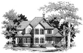 Country Farmhouse Southern House Plan 93439 Elevation