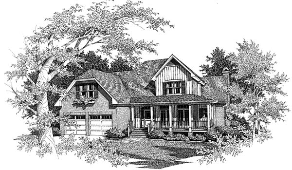 Country, European, Farmhouse House Plan 93444 with 4 Beds, 4 Baths, 2 Car Garage Elevation