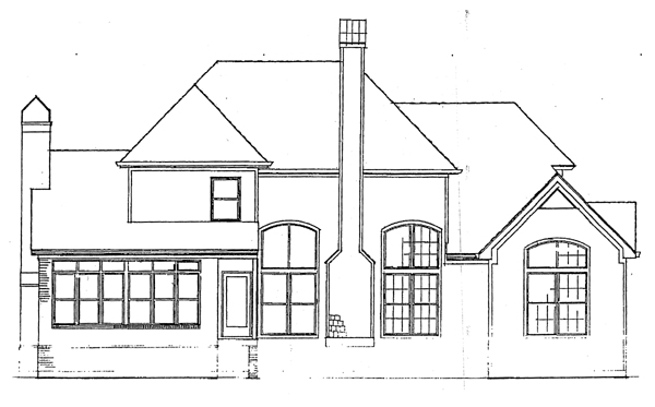 Farmhouse , European , Country House Plan 93444 with 4 Beds, 4 Baths, 2 Car Garage Rear Elevation