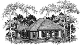 European House Plan 93446 with 3 Beds, 3 Baths, 2 Car Garage Elevation