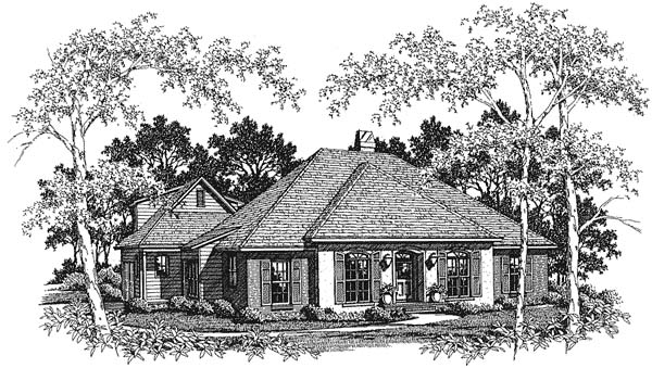 European House Plan 93446 Elevation