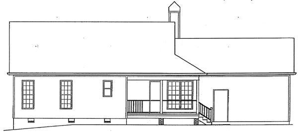 Country One-Story Ranch Rear Elevation of Plan 93449