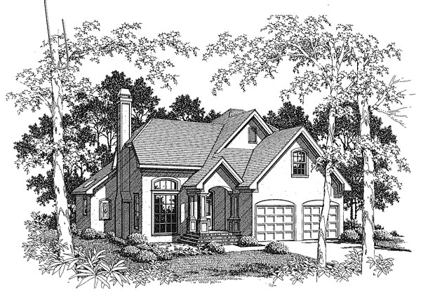 Country, European House Plan 93457 with 3 Beds, 3 Baths, 2 Car Garage Front Elevation
