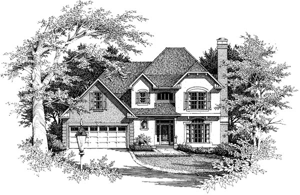 Country, European House Plan 93458 with 3 Beds, 3 Baths, 2 Car Garage Elevation