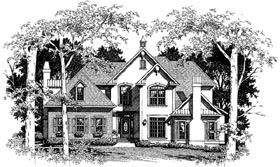 European Tudor House Plan 93459 Elevation