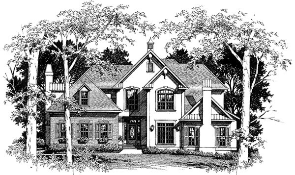 European, Tudor House Plan 93459 with 4 Beds, 3 Baths, 2 Car Garage Elevation