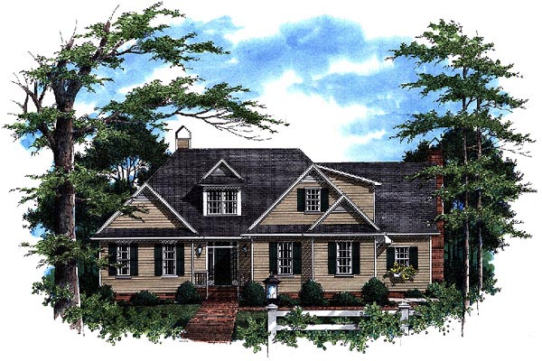 Country, European House Plan 93460 with 3 Beds, 3 Baths, 2 Car Garage Elevation