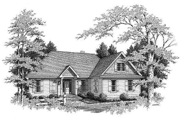 Country, European House Plan 93461 with 3 Beds, 3 Baths, 2 Car Garage Front Elevation