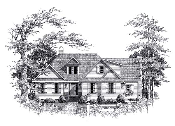 European House Plan 93462 with 3 Beds, 3 Baths, 2 Car Garage Front Elevation