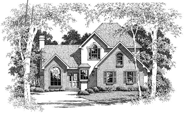 European House Plan 93463 with 3 Beds, 3 Baths, 2 Car Garage Elevation