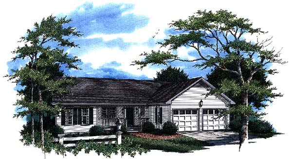 One-Story Ranch Elevation of Plan 93464