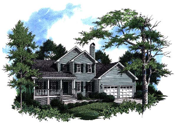 Country, Farmhouse House Plan 93465 with 3 Beds, 3 Baths, 2 Car Garage Front Elevation