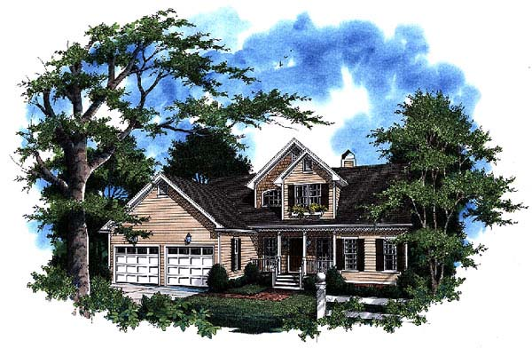 House Plan 93468 with 3 Beds, 3 Baths, 2 Car Garage Elevation