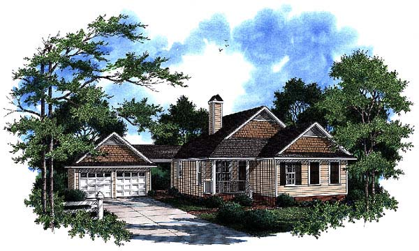 Bungalow, Country, One-Story House Plan 93470 with 3 Beds, 2 Baths, 2 Car Garage Front Elevation