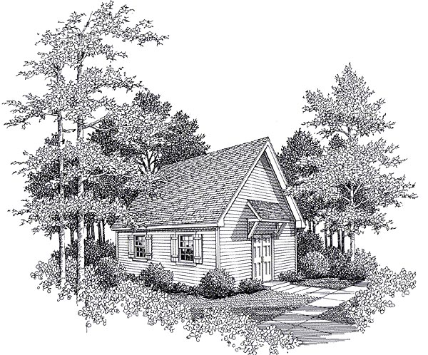 One-Story Workshop Plan 93475 Elevation