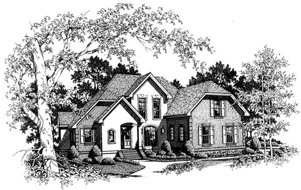 Traditional , Tudor , Elevation of Plan 93478