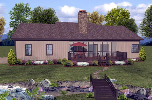 House Plan 93482 with 3 Beds, 2 Baths, 3 Car Garage Rear Elevation