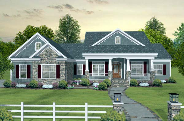 Craftsman, European, Traditional House Plan 93483 with 3 Beds, 3 Baths, 3 Car Garage Elevation
