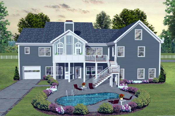 Craftsman , European , Traditional , Rear Elevation of Plan 93483