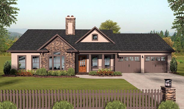 Country, Ranch House Plan 93484 with 3 Beds, 2 Baths, 2 Car Garage Elevation
