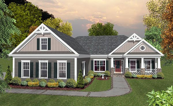 Country Craftsman Traditional House Plan 93488 Elevation
