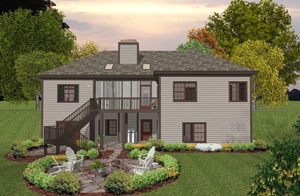 Cottage Country Craftsman House Plan 93491 Rear Elevation