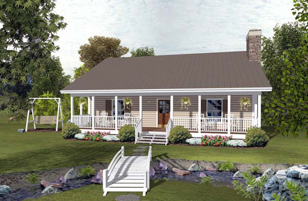 Cabin Country Ranch House Plan 93497 Elevation