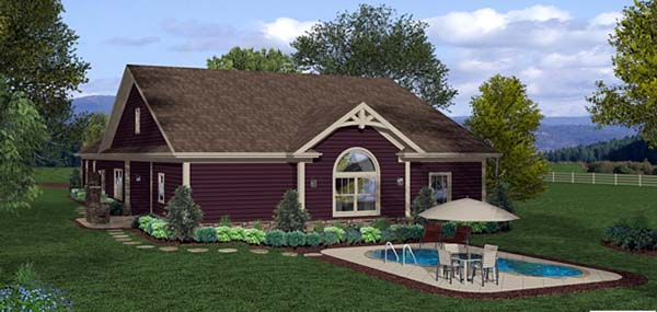 Cottage, Country, Craftsman House Plan 93498 with 3 Beds, 3 Baths, 3 Car Garage Rear Elevation