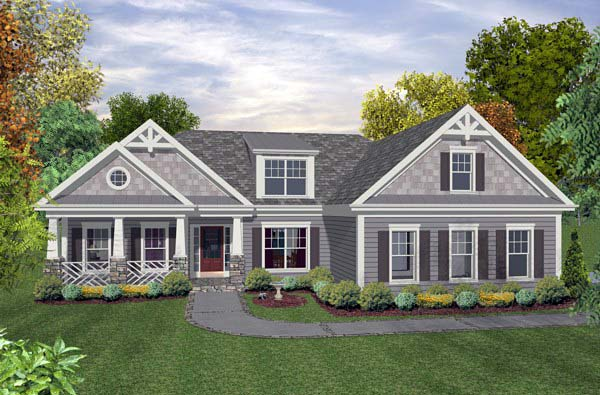 Craftsman Traditional House Plan 93499 Elevation