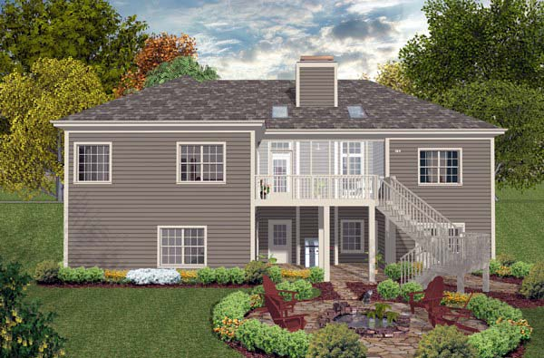 Craftsman Traditional House Plan 93499 Rear Elevation