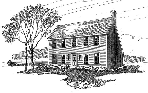 Colonial Saltbox House Plan 94007 Elevation