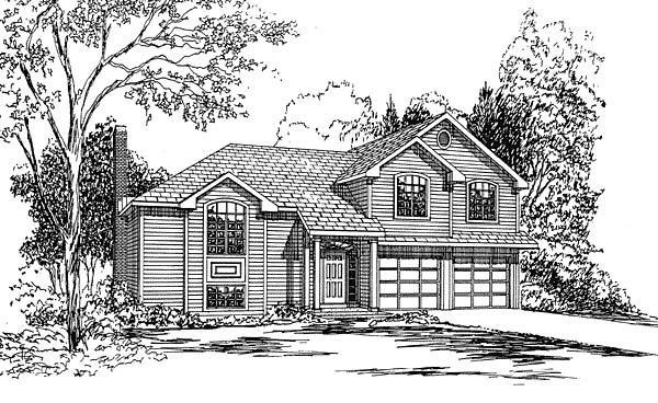 Traditional House Plan 94008 with 3 Beds, 3 Baths, 2 Car Garage Elevation
