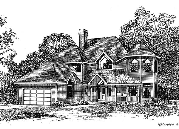 Contemporary Victorian House Plan 94017 Elevation