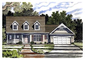 House Plan 94101 | Cape Cod Country Style Plan with 1711 Sq Ft, 3 Bedrooms, 3 Bathrooms, 2 Car Garage Elevation