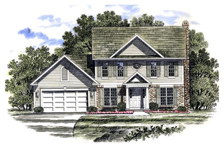Colonial , Southern House Plan 94103 with 4 Beds, 3 Baths, 2 Car Garage Elevation
